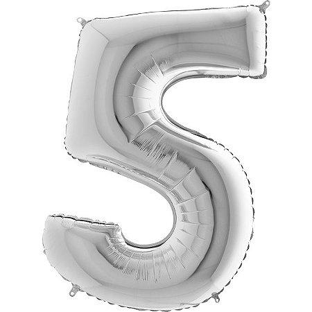 """Balão Flexmetal Prata """"5"""" 40''/101CM"""