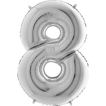 """Balão Flexmetal Prata """"8"""" 40''/101CM"""