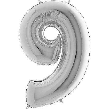 """Balão Flexmetal Prata """"9"""" 40''/101CM"""