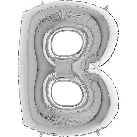 """Balão Flexmetal Prata """"B"""" 40''/101CM"""