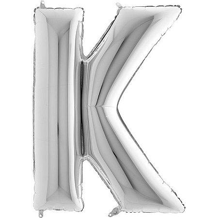 """Balão Flexmetal Prata """"K"""" 40''/101CM"""