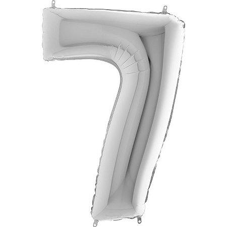 """Balão Flexmetal Prata """"7"""" 40''/101CM"""