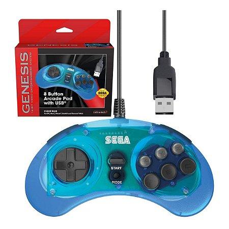 Controle Retro-Bit USB 8-Button Arcade Sega Genesis Mini Azul