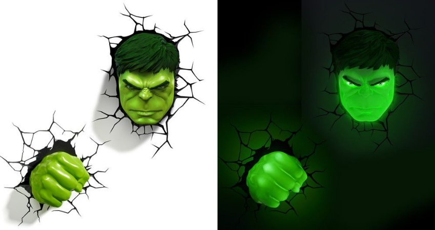 Luminárias Rosto + Punho Hulk 3d Light Fx Avengers