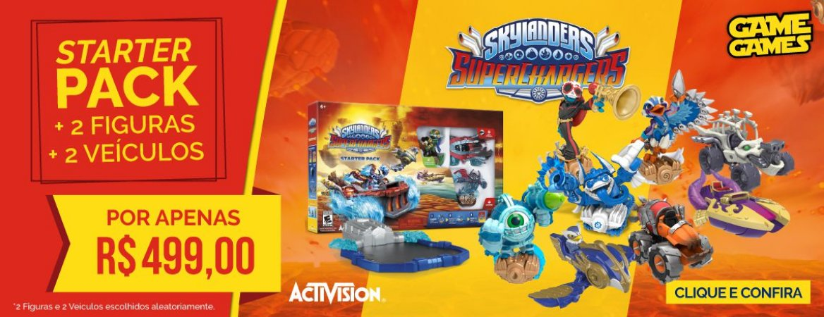 Kit Skylanders Superchargers Pack c/ 2 Figuras e 2 Veículos
