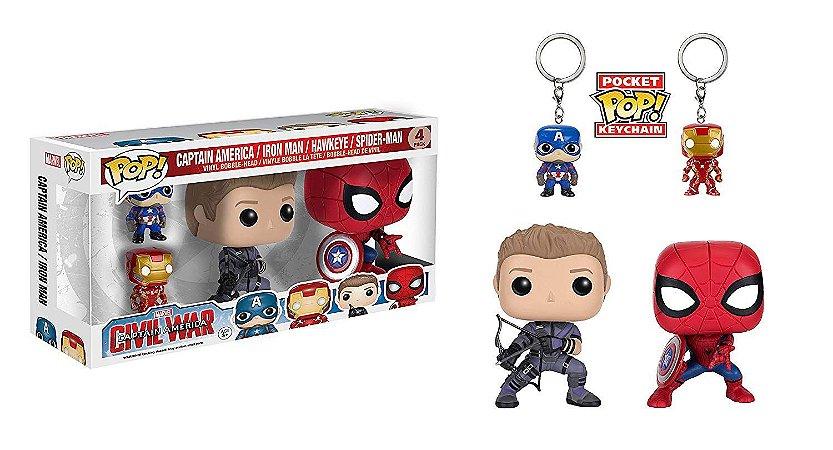 Funko Civil War 4Pack Hawkeye + Spider-man + 2 Chaveiros