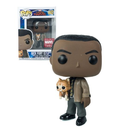 Funko Pop Captain Marvel 447 Nick Fury w/ Goose the Cat