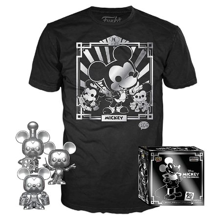 Funko Pop Disney Mickey 90th Kit 3 Pop + Camiseta XL (GG)