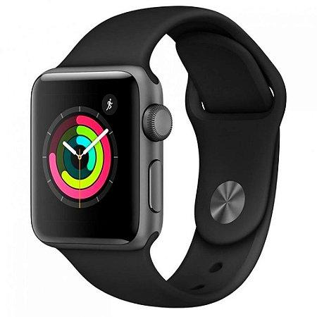 Apple Watch Series 3 GPS 38mm Cinza Espacial C/ Pulseira Esportiva Preta