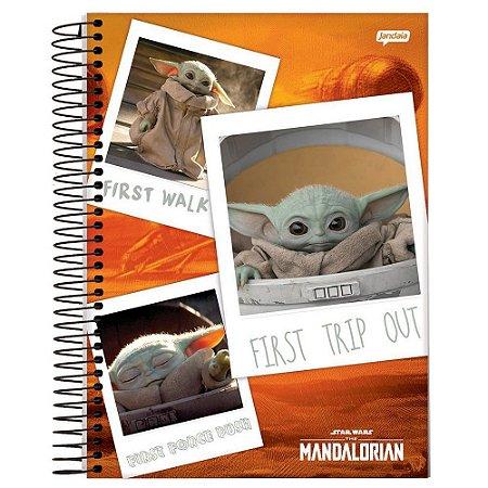 Caderno Capa Dura 1X1 80fl Star Wars The Mandalorian Baby Yoda