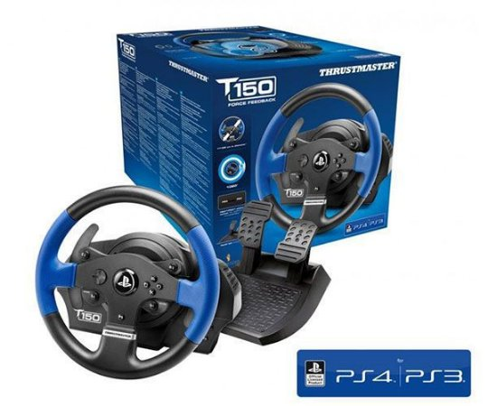 Volante C/ Pedais Thrustmaster T150 Force Feedback Ps4 PS3 PC