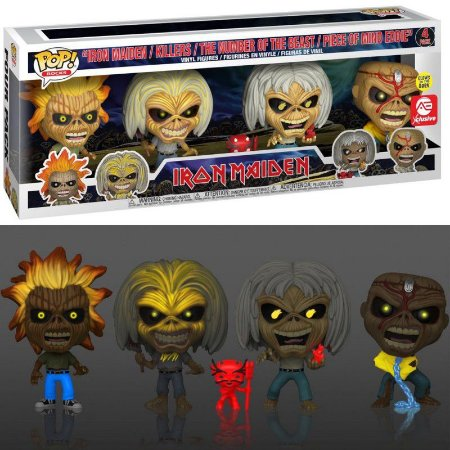 Funko Pop Iron Maiden Eddies Exclusive 4 Pack GITD