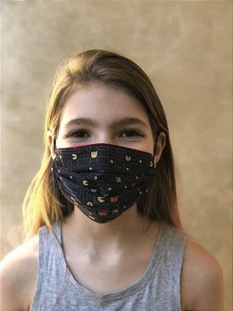 Máscara Dupla Proteção Lavável Uso dos 2 Lados Pac-Man