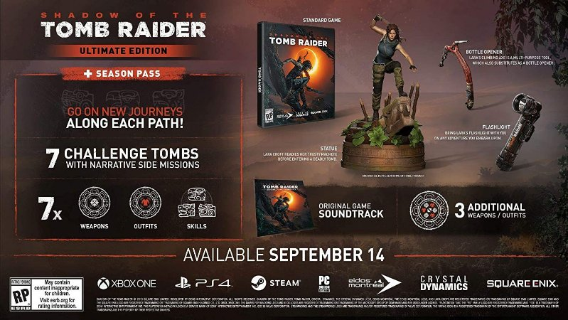 Shadow Of The Tomb Raider Ultimate Edition Lara Croft - Ps4