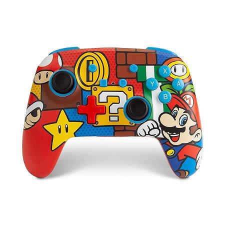 Controle PowerA Enhanced s/fio Mario Pop Recarregável - Switch
