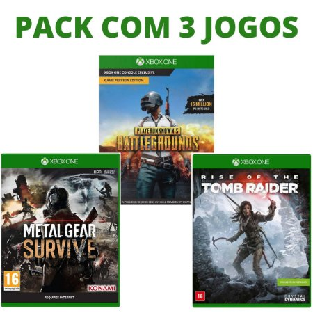 Metal Gear Survive + PUBG + Rise Of The Tomb Raider - Xbox One