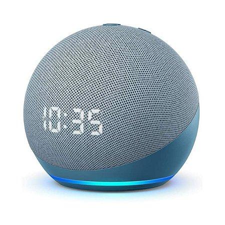 Echo Dot 4ª Gen Smart Speaker com Relógio e Alexa - Azul