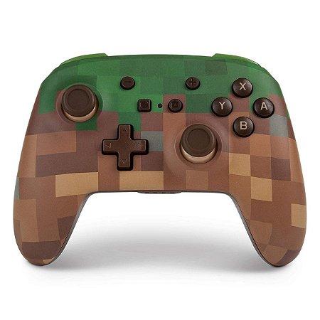 Controle PowerA Enhanced Wireless Minecraft Grass Block - Switch