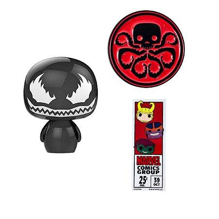 Funko Marvel Pin Hydra + Adesivo 80th + Pint Size Venom