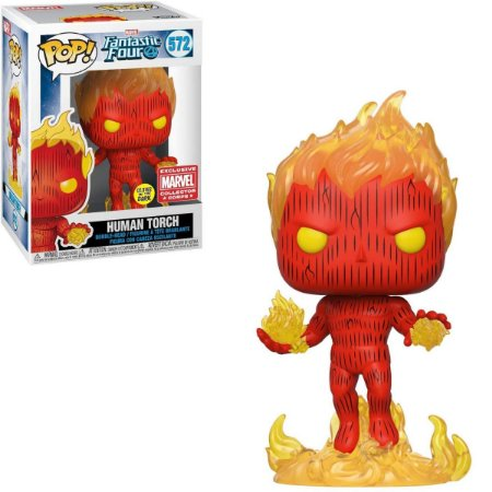 Funko Pop Fantastic Four 572 Human Torch Glows in the Dark