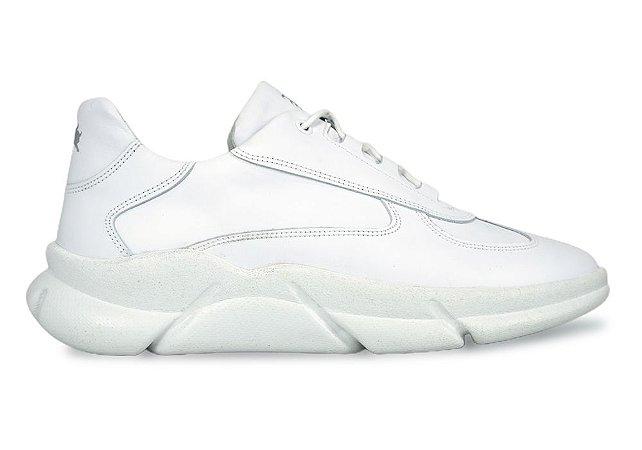 Sneakers Masculino Couro All White Barcelona Design   Brooklyn Bull