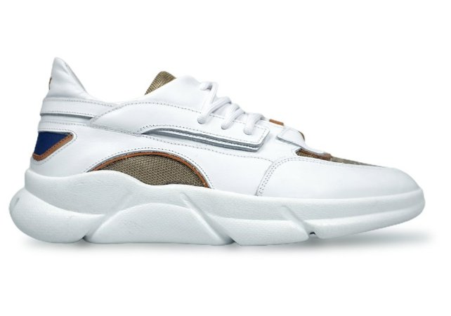 Tênis Sneakers Masculino Couro Branco com Lona Refletiva Caramelo Barcelona Design | Brooklyn Bull