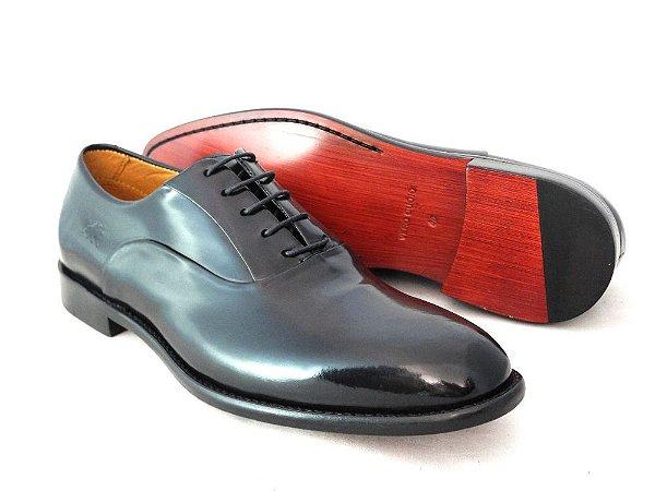 Sapato Oxford Couro Brush Off Preto Barcelona Design