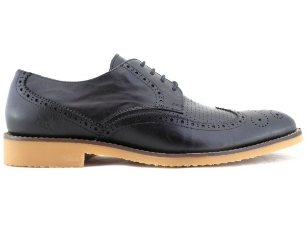 Sapato Derby Brogue Couro Preto Barcelona Design