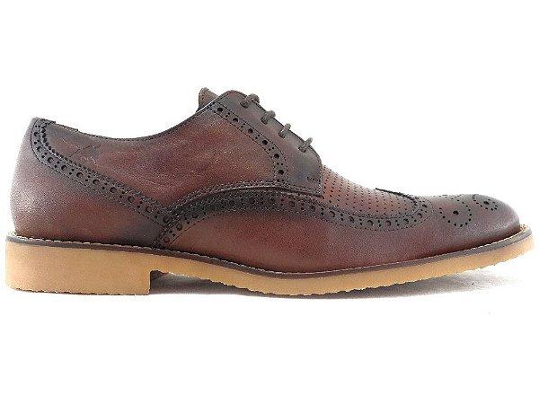 Sapato Derby Brogue Couro Marrom Conhaque Barcelona Design