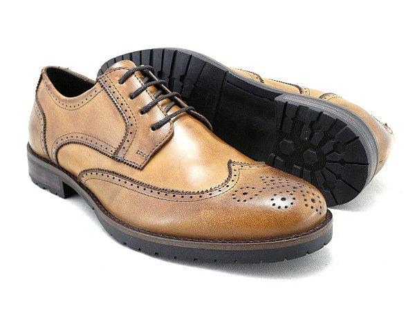 Sapato Masculino Derby Brogue Couro Whisky Barcelona Design
