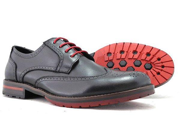 Sapato Masculino Derby Brogue Preto Barcelona Design
