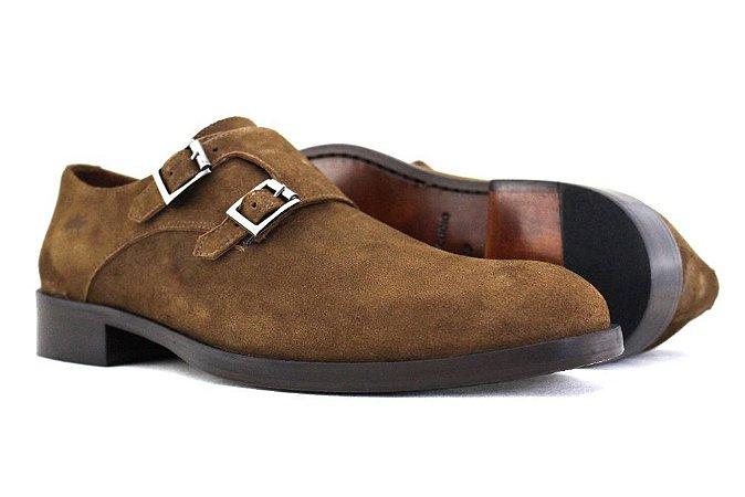 Sapato Masculino Monk Strap Couro Camurça Cabra Caramelo Barcelona Design
