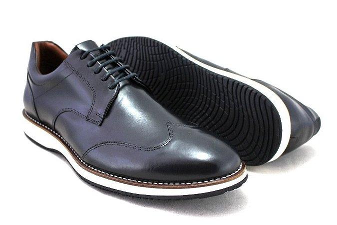 Sapato Casual Masculino Wingtip Couro Preto Barcelona Design