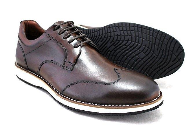 Sapato Casual Masculino Wingtip Couro Marrom Barcelona Design