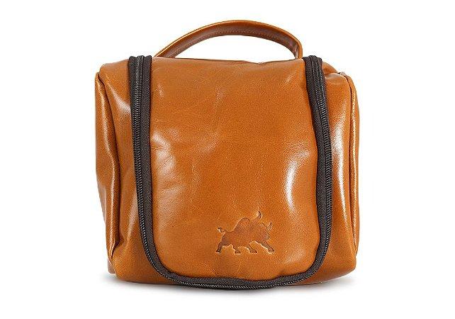 Necessaire Bag Couro Caramelo Barcelona Design