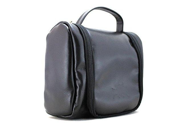 Necessaire Bag Couro Preto Barcelona Design