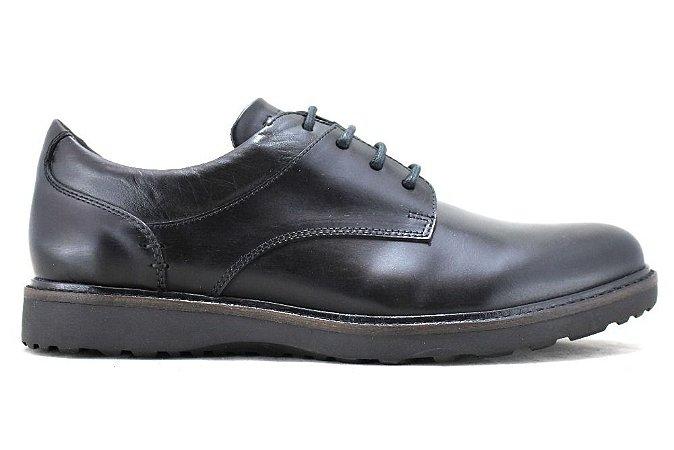 Sapato Masculino Casual Derby Couro Preto Barcelona Design