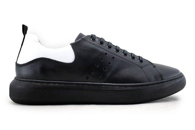 Tênis Sneakers Masculino Couro Preto Barcelona Design