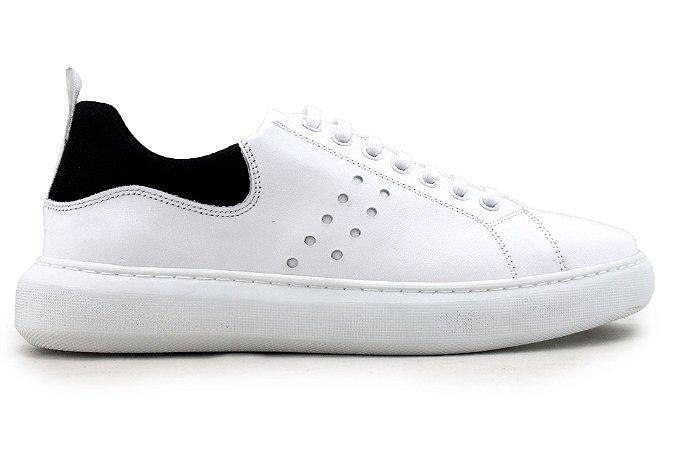 Tênis Sneakers Masculino Couro Branco Barcelona Design