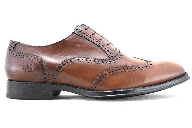Sapato Masculino Oxford Brogue Wingtip Couro Marrom Damasco Barcelona Design