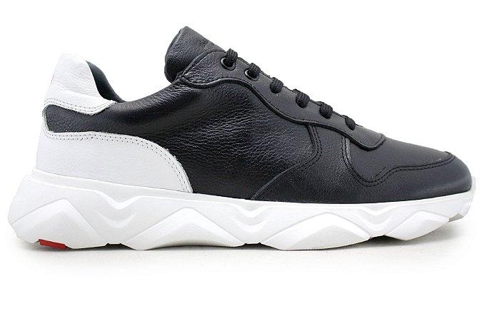 Tênis Sneakers Masculino Couro Preto/Branco Barcelona Design | Robust Bull