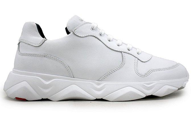Tênis Sneakers Masculino Couro Branco Barcelona Design | Robust Bull