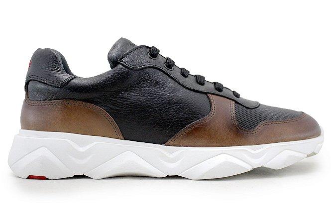 Tênis Sneakers Masculino Couro Preto/Marrom Barcelona Design | Robust Bull