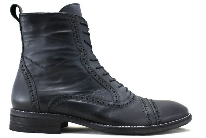 Bota Masculina Oxford Brogue Couro Preto Barcelona Design