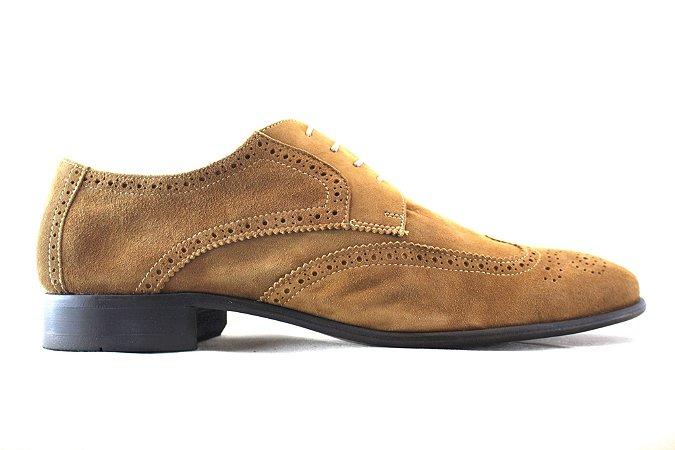 Sapato Masculino Derby Brogue Couro Camurça Cabra Caramelo Barcelona Design