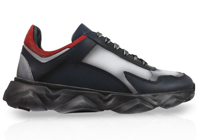 Tênis Sneakers Masculino Couro Marinho Estonado Barcelona Design   Robust Bull