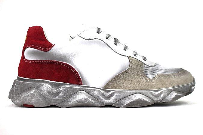 Tênis Sneakers Masculino Couro Branco Estonado Barcelona Design | Robust Bull