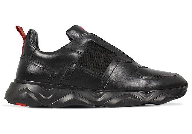 Tênis Sneakers Masculino Elastico Couro Preto Barcelona Design | Robust Bull