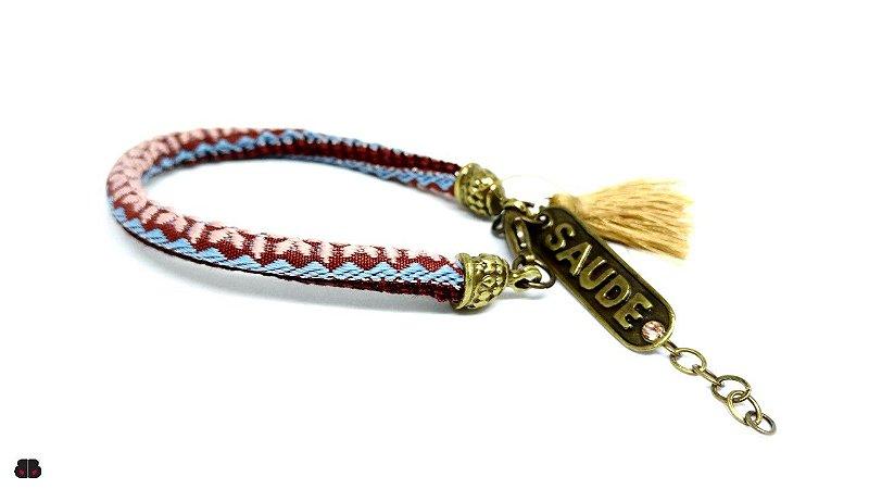 Pulseira Peruana Marrom, Azul e Rosa com Pingentes placa Sáude e Tassel