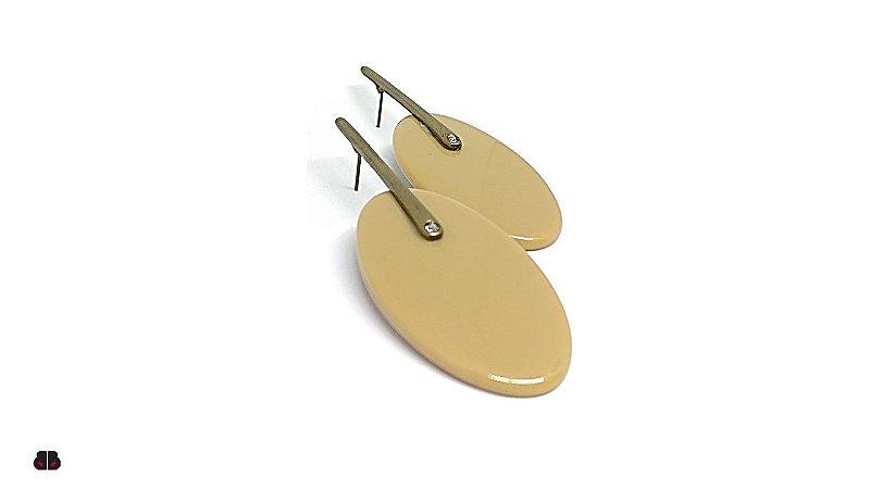 Brincos Ouro Velho Oval Ocre